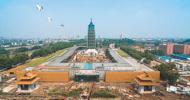 南京大报恩寺外观框架已初具雏形
