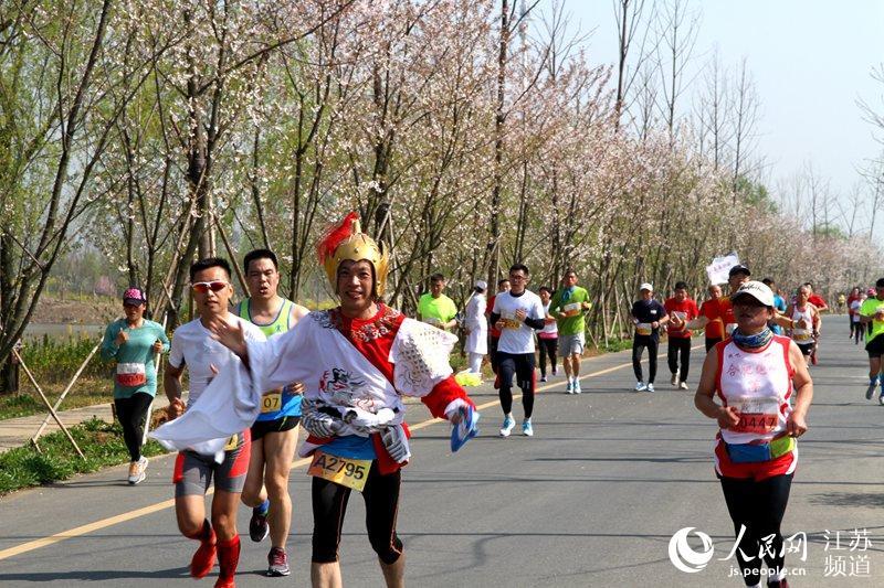 7江苏泗洪半程马拉松比赛在洪泽湖湿地公园鸣枪开跑,来自国内外