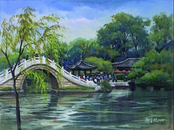 苏台两地艺术家京杭大运河写生作品展开幕图片