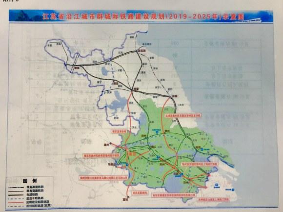 江苏省沿江城市群城际铁路建设规划示意图
