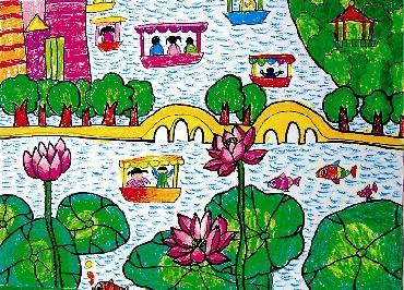幸福美好生活儿童画,我们的美好生活儿童画,美好家园儿童画,