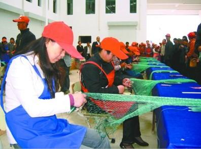 射阳县黄沙港镇举办渔民织网大赛
