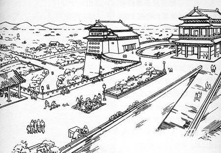 20世纪50年代初梁思成手绘北京城改造图稿