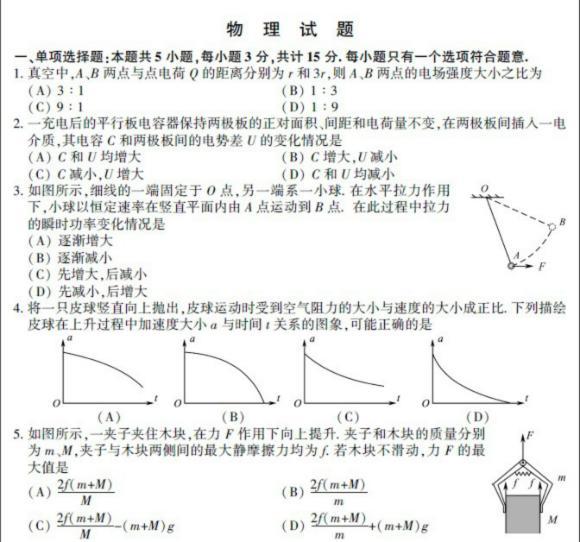 2012年高考江苏卷(物理)试题及答案