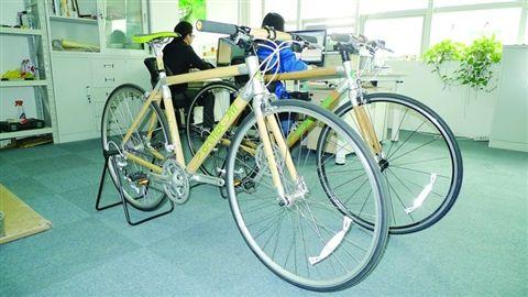 竹制自行车车身主要结构(黄色部分)由新型竹材制作而成